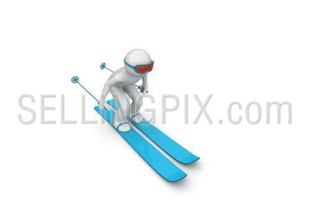 Downhill skier (3d isolated characters on white background, sports series)