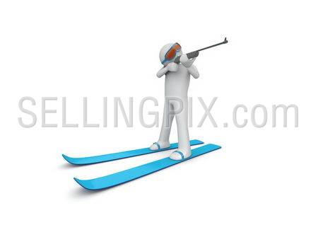 Biathlonist (3d isolated characters on white background, sports series)