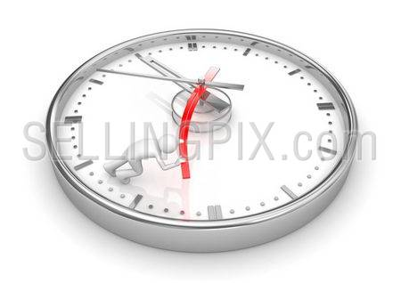 Trying to stop the clock (3d isolated characters on white background series)