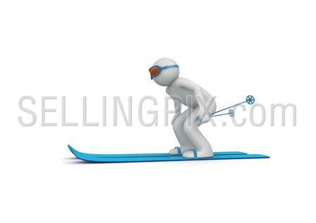 Downhill skier 2 (3d isolated characters on white background, sports series)