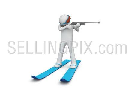 Biathlonist 2 (3d isolated characters on white background, sports series)