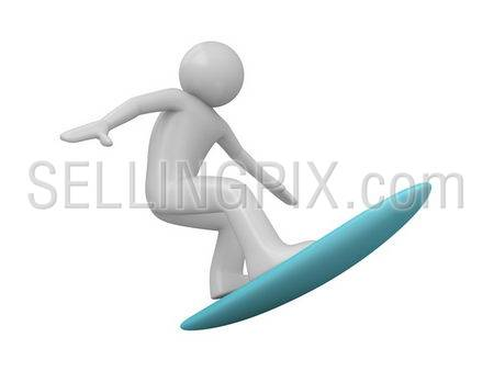 Surfer (3d isolated characters on white background, sports series)