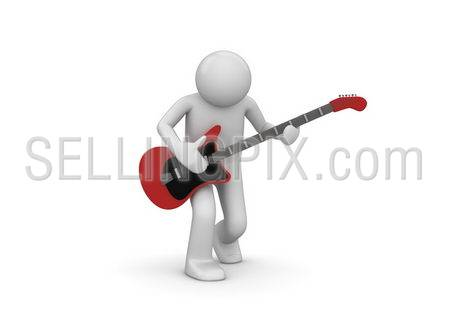 Rock guitarist (3d isolated characters on white background)