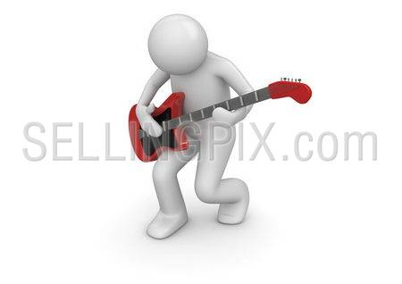 Emotional rock guitarist (3d isolated characters on white background series)