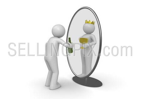 Narcissist – man with bottle king in mirror (3d isolated characters on white background series)