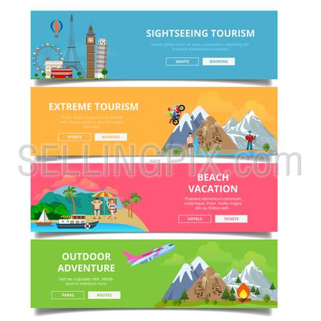 Travel tourism type banner flat style vector set. Vacation landmark monument collage. Sightseeing extreme beach outdoor adventure.
