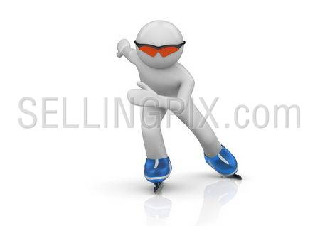 Oncoming Skater (3d isolated characters on white background series)