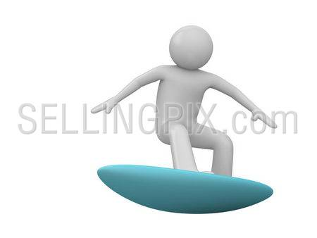 Surfer isolated (3d isolated characters on white background, sports series)
