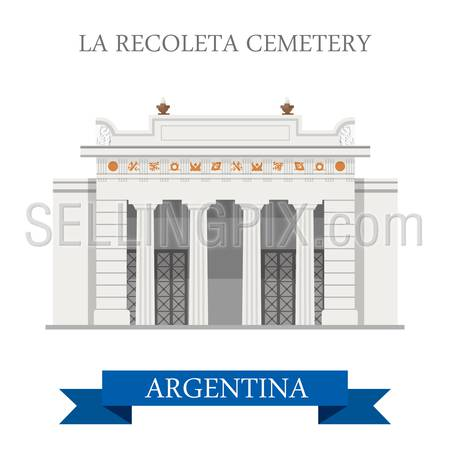 La Recoleta Cemetery in Buenos Aires Argentina. Flat cartoon style historic sight showplace attraction web site vector illustration. World countries cities vacation travel sightseeing South America collection.