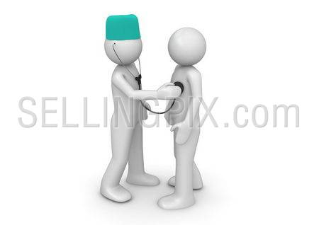 Doctor and patient (3d isolated characters on white background, medicine series)