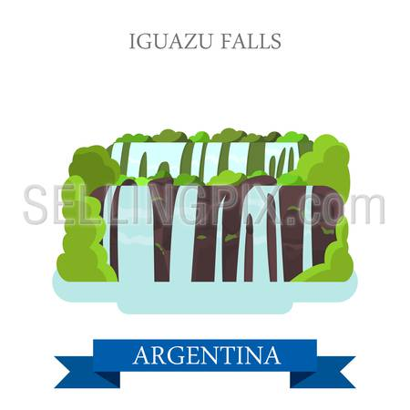 Iguazu Falls in Argentina. Flat cartoon style historic sight showplace attraction web site vector illustration. World countries cities vacation travel sightseeing South America collection.