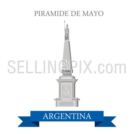 Piramide de Mayo in Buenos Aires Argentina. Flat cartoon style historic sight showplace attraction web site vector illustration. World countries cities vacation travel sightseeing South America collection.