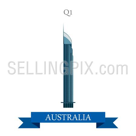 Q1 tower in Gold Coast Queensland Australia. Flat cartoon style historic sight showplace attraction web site vector illustration. World countries cities vacation travel sightseeing Australian collection.
