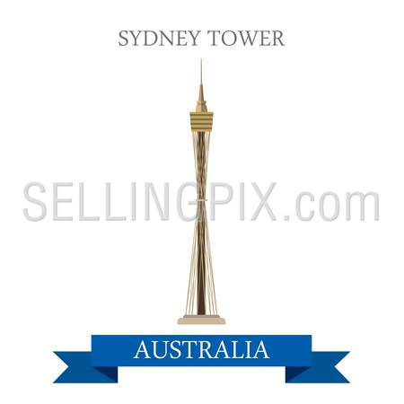 Sydney tower in Australia. Flat cartoon style historic sight showplace attraction web site vector illustration. World countries cities vacation travel sightseeing Australian collection.
