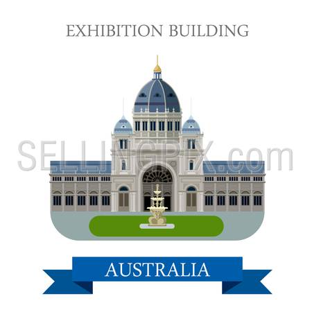 Royal Exhibition building in Melbourne Australia. Flat cartoon style historic sight showplace attraction web site vector illustration. World countries cities vacation travel sightseeing Australian collection.