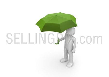 Man Under Green Umbrella (3d isolated characters on white background series)