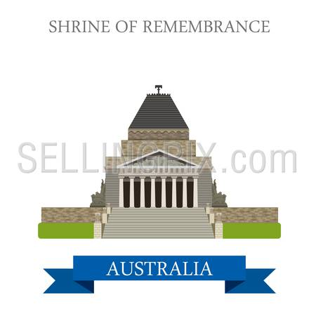 Shrine of Remembrance in Melbourne Australia. Flat cartoon style historic sight showplace attraction web site vector illustration. World countries cities vacation travel sightseeing Australian collection.