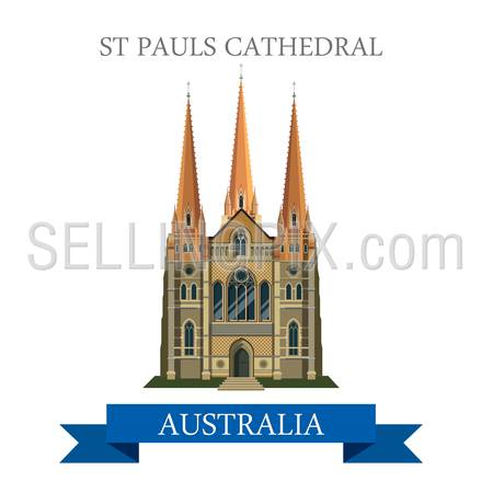 St Pauls Cathedral in Melbourne Australia. Flat cartoon style historic sight showplace attraction web site vector illustration. World countries cities vacation travel sightseeing South America collection.