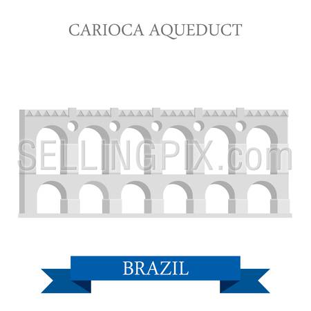 Carioca Aqueduct in Rio de Janeiro Brazil. Flat cartoon style historic sight showplace attraction web site vector illustration. World countries cities vacation travel sightseeing South America collection.