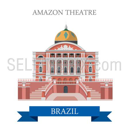 Amazon Theatre in Brazil. Flat cartoon style historic sight showplace attraction web site vector illustration. World countries cities vacation travel sightseeing South America collection.