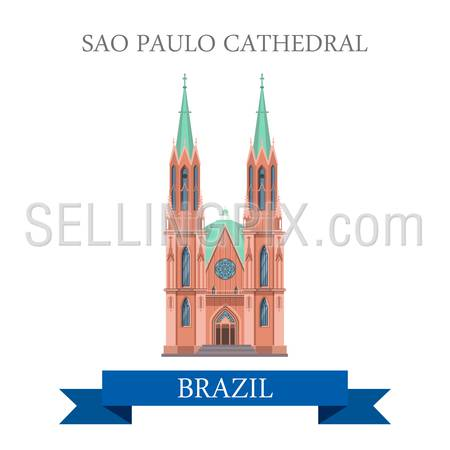 Sao Paulo Cathedral in Brazil. Flat cartoon style historic sight showplace attraction web site vector illustration. World countries cities vacation travel sightseeing South America collection.