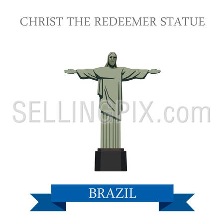 Christ the Redeemer Statue in Rio de Janeiro Brazil. Flat cartoon style historic sight showplace attraction web site vector illustration. World countries cities vacation travel sightseeing South America collection.
