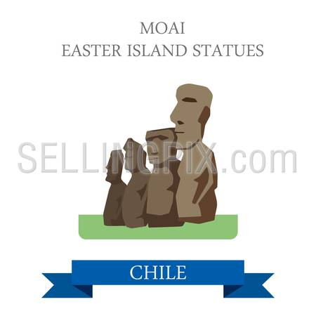 Moai Easter Island Statues in Chile. Flat cartoon style historic sight showplace attraction web site vector illustration. World countries cities vacation travel sightseeing South America collection.
