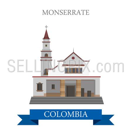 Monserrate in Bogota Colombia. Flat cartoon style historic sight showplace attraction web site vector illustration. World countries cities vacation travel sightseeing South America collection.