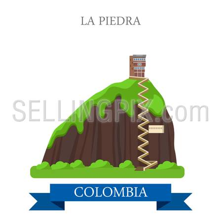 La Piedra in Colombia. Flat cartoon style historic sight showplace attraction web site vector illustration. World countries cities vacation travel sightseeing South America collection.