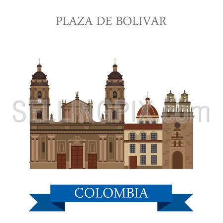 Plaza de Bolivar in Bogota Colombia. Flat cartoon style historic sight showplace attraction web site vector illustration. World countries cities vacation travel sightseeing South America collection.