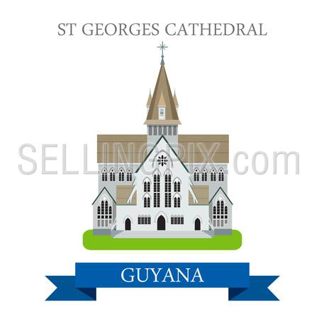 St Georges Cathedral in Guyana. Flat cartoon style historic sight showplace attraction web site vector illustration. World countries cities vacation travel sightseeing South America collection.
