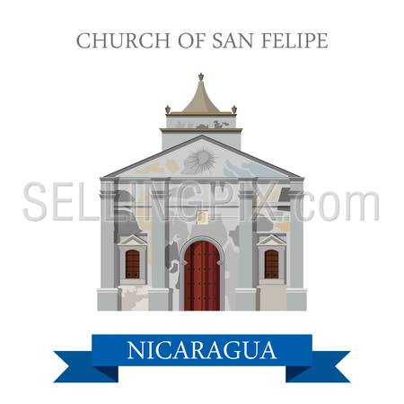 Church of San Felipe in Nicaragua. Flat cartoon style historic sight showplace attraction web site vector illustration. World countries cities vacation travel sightseeing Central America collection.