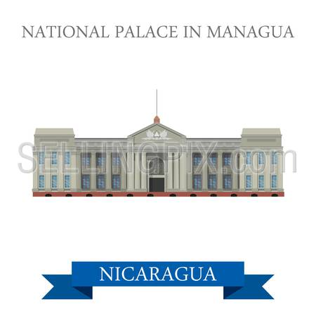 National Palace in Managua Nicaragua. Flat cartoon style historic sight showplace attraction web site vector illustration. World countries cities vacation travel sightseeing Central America collection.