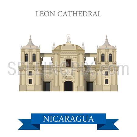Leon Cathedral in Nicaragua. Flat cartoon style historic sight showplace attraction web site vector illustration. World countries cities vacation travel sightseeing Central America collection.