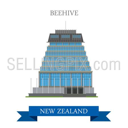 Beehive Parliament Building in Wellington New Zealand. Flat cartoon style historic sight showplace attraction web site vector illustration. World countries cities vacation travel sightseeing collection