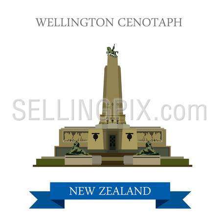 Wellington Cenotaph in New Zealand. Flat cartoon style historic sight showplace attraction web site vector illustration. World countries cities vacation travel sightseeing collection