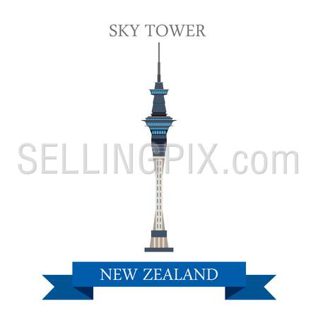 Sky Tower in Auckland New Zealand. Flat cartoon style historic sight showplace attraction web site vector illustration. World countries cities vacation travel sightseeing collection