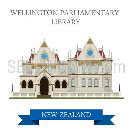 Parliamentary Library in Wellington New Zealand. Flat cartoon style historic sight showplace attraction web site vector illustration. World countries cities vacation travel sightseeing collection
