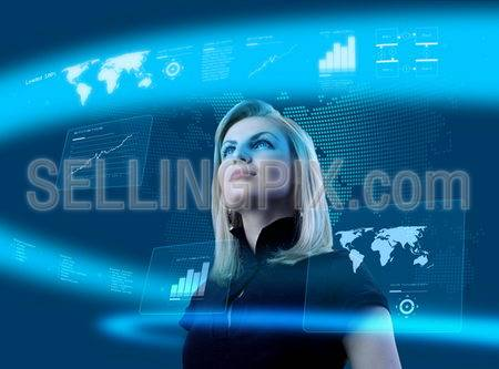 Attractive blonde young woman in futuristic interface (business people in virtual space photo collages series).Future technology concept.