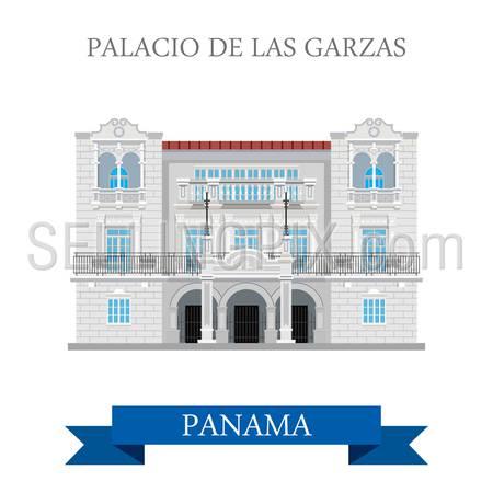 Palacio de Las Garzas in Panama. Flat cartoon style historic sight showplace attraction web site vector illustration. World countries cities vacation travel sightseeing Central America collection.