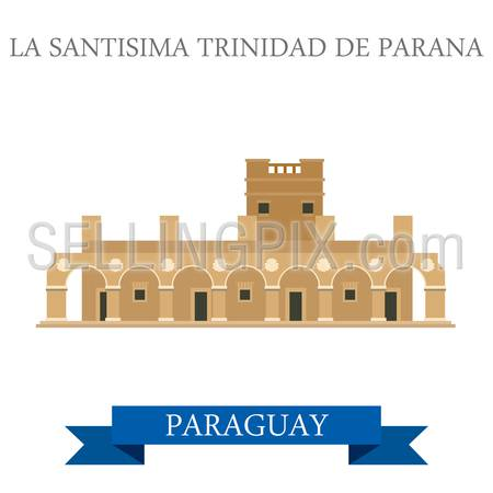 La Santisima Trinidad De Parana in Paraguay. Flat cartoon style historic sight showplace attraction web site vector illustration. World countries cities vacation travel sightseeing South America collection.