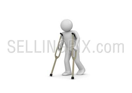 Injured man on crutches (3d isolated on white background characters series)