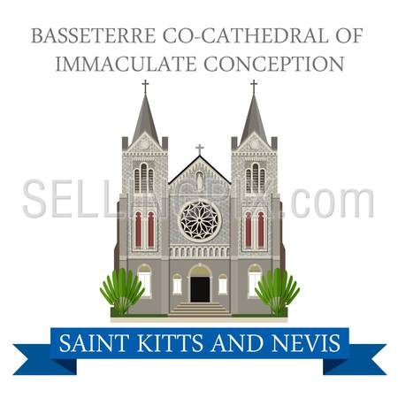 Basseterre co-Cathedral of Immaculate Conception in Saint Kitts and Nevis. Flat cartoon style historic attraction web vector. World countries vacation travel sightseeing South America collection.