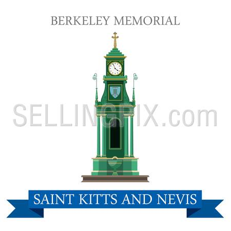 Berkeley Memorial in Saint Kitts and Nevis. Flat cartoon style historic sight showplace attraction web site vector illustration. World countries cities vacation travel sightseeing South America collection.