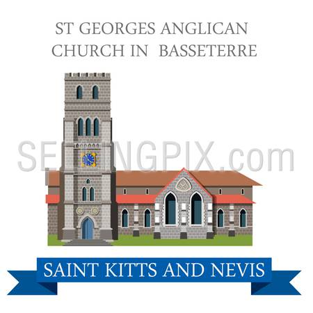 St George Anglican Church in Basseterre Saint Kitts and Nevis. Flat cartoon style historic showplace attraction web vector. World countries cities vacation travel sightseeing South America collection