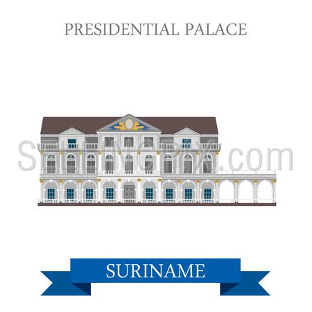 Presidential Palace in Suriname. Flat cartoon style historic sight showplace attraction web site vector illustration. World countries cities vacation travel sightseeing South America collection.