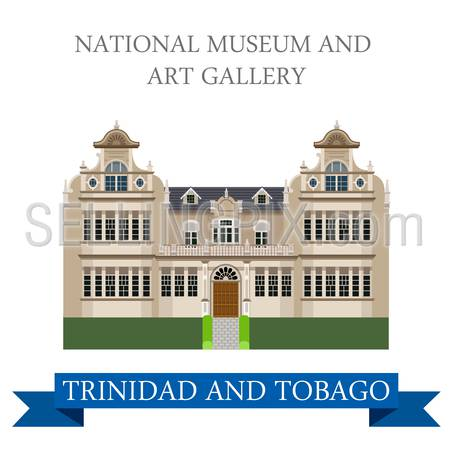 National Museum and Art Gallery in Trinidad and Tobago. Flat cartoon style historic sight showplace attraction web vector. World countries cities vacation travel sightseeing South America collection.