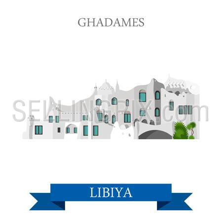 Ghadames in Libya. Flat cartoon style historic sight showplace attraction web site vector illustration. World countries cities vacation travel sightseeing Africa collection.