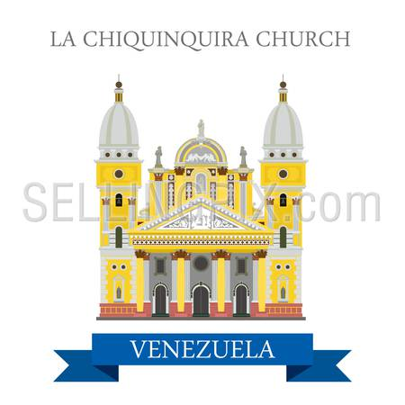 La Chiquinquira Church in Venezuela. Flat cartoon style historic sight showplace attraction web site vector illustration. World countries cities vacation travel sightseeing South America collection.