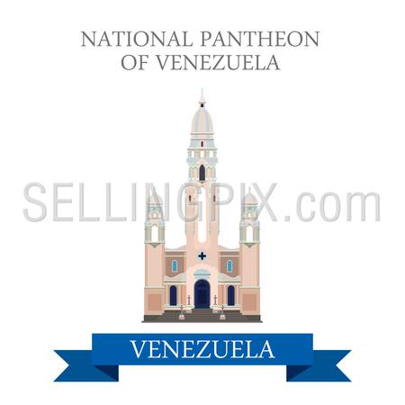 National Pantheon of Venezuela in Caracas. Flat cartoon style historic sight showplace attraction web site vector illustration. World countries cities vacation travel sightseeing South America collection.